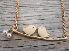 Lovebirds - Two Birds on a Branch pendant