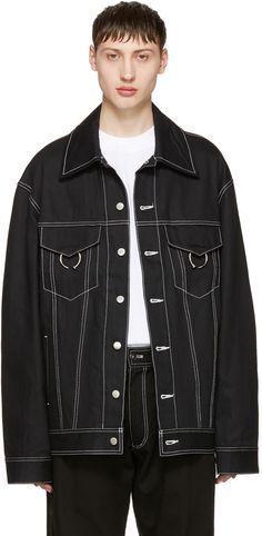 960€ Ambush - Blouson surdimensionné en denim noir Noir, Mode Homme, Vestes, bf61f466330