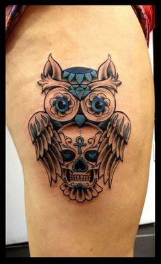 http://tattooideas247.com/owl-skull-thigh-tattoo/ Owl & Skull Thigh Tattoo #Cute, #Diamond, #Floral, #Gem, #Hearts, #Jewel, #JózsefTörök, #Owl, #Skull