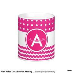 Pink Polka Dot Chevron Monogram Personalized Classic White Coffee Mug