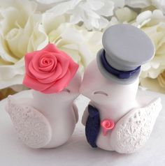 Love Birds Wedding Cake Topper Beige Coral Navy and by LavaGifts