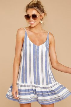 Cute Blue Striped Sun Dress - Short Sleeveless Dress - Dress - $54.00 – Red Dress Stylish Dresses, Casual Dresses For Women, Short Dresses, Pretty Outfits, Cool Outfits, Latest Fashion Design, Herve, Dress Suits, Chic Dress