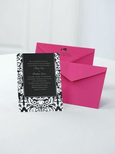 Michaels.com Wedding Department: Dramatic Damask Invitation You get to choose the color of the dramatic damask border and background so this Jean M invitation will set the tone for your wedding perfectly! Select any Michaels designer color for the white card's damask border design and background. Your wording will be printed in white. Choose up to two lettering styles for your wording. To learn more or start,