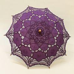 Cotton and Lace Parasol - Purple