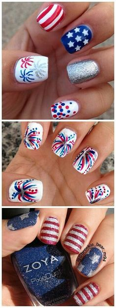of July Nail Art I really love these Fourth of July nail art designs! I think the fireworks nail art is my favorite.I really love these Fourth of July nail art designs! I think the fireworks nail art is my favorite. Diy Nails, Cute Nails, Pretty Nails, Nail Art Vernis, Nail Polishes, Nail Nail, Firework Nails, Cute Nail Designs, July 4th Nails Designs