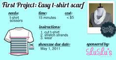 Love this tute for home made Tshirt Scarf cant wait to try it! Cute Crafts, Crafts To Do, Diy Crafts, Diy Scarf, Scarf Shirt, Shirt Scarves, Scarf Tutorial, Recycled T Shirts, T Shirt Diy