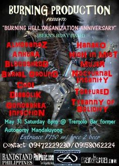 "« ""BURNING HELL ORGANIZATION ANNIVERSARY"" (Bern's Bday Bash) May 31 @ Tremolo Music Bar »"