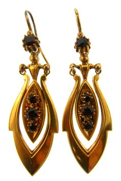 Etruscan Revival Ruby and Gold Earrings