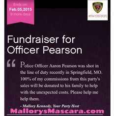 I've created a link for orders directly through my website to help the officer that was shot in Springfield, MO. I'll be donating 100% of my commissions to the family that I know personally. The link expires at midnight on Feb 5th. Please help me help them by ordering through http://www.MallorysMascara.com and sharing this post.
