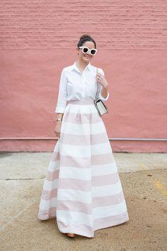 Pink White Stripe Long Skirt
