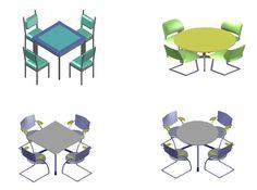 Bloc Autocad des tables café 3D dwg | Génie civil et Travaux Publics Engineering