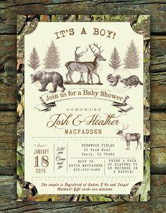 Deer Invitation Rustic Woodland Baby Shower by PaperandPomp