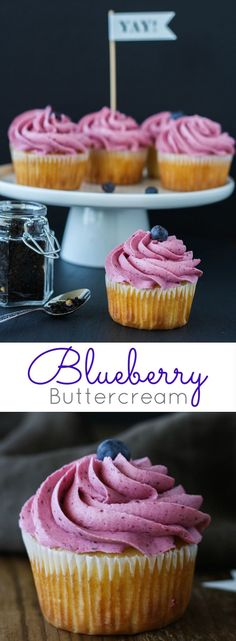 A delicious blueberry buttercream made with fresh blueberries. Perfect on any cupcakes or cakes and pairs very well with lemon desserts! Frosting Recipes, Cupcake Recipes, Baking Recipes, Cupcake Cakes, Dessert Recipes, Gourmet Cupcakes, Dishes Recipes, Recipies, Lemon Desserts
