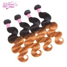 Queen Love Hair Brazilian Hair Body Wave Human Hair Extensions Non Remy Pre-Colored 4 Pcs Ombre Hair Weave Bundles 1B/30