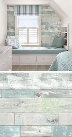 For a house on or near the beach (color scheme) Beachwood Reusable Peel & Stick Vinyl Wallpaper Vinyl Wallpaper, Wallpaper Ideas, Bathroom Wallpaper, Nautical Wallpaper, Trendy Wallpaper, Master Bedroom With Wallpaper, Wallpaper For Walls, Wood Effect Wallpaper, Rustic Wallpaper