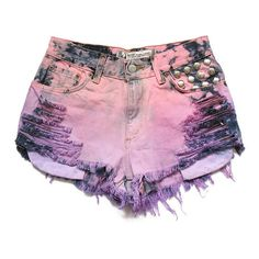 Studded ombre high waisted shorts S ($50) found on Polyvore