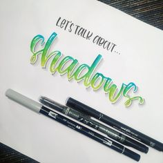 I've had a few questions lately about how I do shadows on my lettering so if you swipe you'll see a step by step tutorial and then a pic of… Hand Lettering Alphabet, Doodle Lettering, Creative Lettering, Brush Lettering, Chalk Typography, Bullet Journal Font, Bullet Journal Ideas Pages, Journal Fonts, Calligraphy Quotes Doodles
