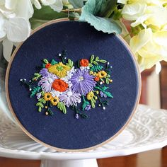 Floral Bouquet Embroidery Hoop Art Yellow by IttyBittyBunnies