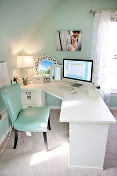 small home office - love that the desk faces the window/room. put some shelves behind it and whoala!