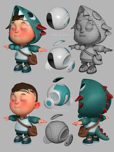 Character modeling for EmberLab 3d Model Character, Game Character Design, Kid Character, Character Modeling, Character Design Inspiration, Character Concept, Concept Art, Design Visual, 3d Modelle