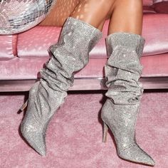 2018 Bling Hot Drilling Mid-calf Boots Women Pointed Toe High Heels Fashion High Top Shoes Woman Sexy T-stage Catwalk Shoes High Heels Stilettos, High Heel Boots, Heeled Boots, Stiletto Heels, Wide Calf Boots, Long Boots, Ankle Boots, Fashion Heels, Fashion Boots