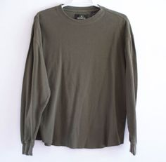 Mens-RedHead-Thermal-Long-Sleeve-Shirt-Army-Green-Medium-100-Cotton