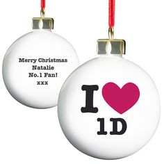 Personalised I Heart 1D One Direction Christmas Tree Bauble - £12.50