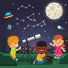Buy Kids Making Telescope Astronomical Observations by IconicBestiary on GraphicRiver. Kids making telescope astronomical observations of star constellations in the starry night with full moon, comet and . Types Of Telescopes, Penguin Awareness Day, Doodle, Star Constellations, Star Chart, Galaxy Design, Free Activities, Early Literacy, Astronomy