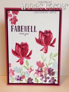 Cased card, made for a work friend who is leaving, using Stampin Up Lotus Blossom & Painted Petals.