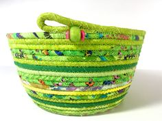 Coiled Rope Basket in Bright Green  Spring Bowl or by SallyManke