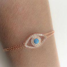 MOTHERS DAY SALE Evil Eye Jewelry  Blue Stone, 925  Sterling Silver Rose Gold Cubic Zirconia Bracelet