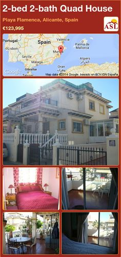 Quad House for Sale in Playa Flamenca, Alicante, Spain with 2 bedrooms, 2 bathrooms - A Spanish Life Valencia, Quad, Solid Wood Worktops, Portugal, Corner Bath, Alicante Spain, Family Bathroom, Double Bedroom, Open Plan