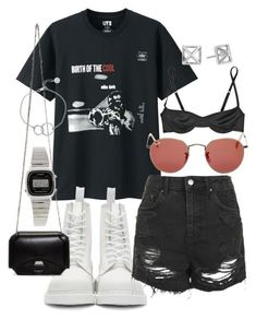 A fashion look from April 2017 by featuring Marni Topshop Dr. Martens Givenchy Chupi Casio Rebecca Minkoff RayBan and Uniqlo Kpop Outfits, Edgy Outfits, Retro Outfits, Summer Outfits, Girl Outfits, Cute Outfits, Fashion Outfits, Fashion Trends, Hijab Outfit