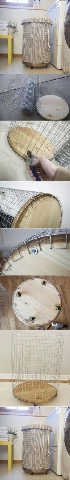 You'll need:  Circle of wood Wire 4 caster rollers, and appropriate washers and screws fabric rope tools and sewing equipment  Basket: Use w...