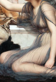 Saw this at the Getty - amazing detail! John William Godward, Mischief and Repose (detail), 1895