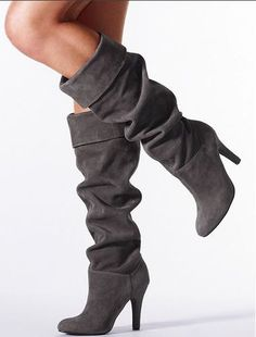 Cute Boots - grey suede high heeled. Fall/winter collection 2016.: