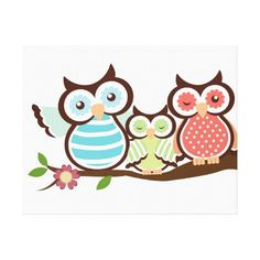 Cute Owl Family Canvas Print