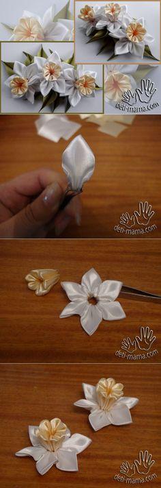 Цветы из канзаши. Нарциссы | Журнал для мам и детей