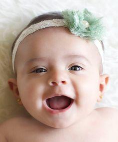 Love this Ivory & Mint Lace Flower Headband on #lilmisssweetpea