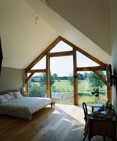 windows to fit triangular ceiling Attic Bedrooms, Upstairs Bedroom, Bedroom Loft, Bedroom Decor, Vaulted Ceiling Bedroom, Vaulted Ceilings, Cottage Extension, Oak Frame House, Interior And Exterior