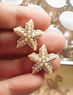 Crystal & Pearl Starfish Earrings- perfect for a beach wedding!