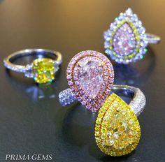 Prima Gems Thailand Fancy Color Diamond Rings.