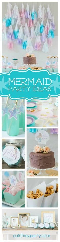 Take a look at this pretty mermaid birthday party! Absolutely love the backdrop and check out the fabulous dessert table! See more party ideas and share yours at CatchMyParty.com