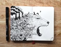 You can get lost for hours in these insanely intricate doodles - This one is great for greenpeace