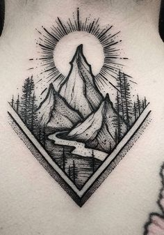 Berge in der Waldtätowierungsinspiration - tatoo feminina Bild Tattoos, Cute Tattoos, Body Art Tattoos, New Tattoos, Small Tattoos, Sleeve Tattoos, Tatoos, Tattoo Und Piercing, Tattoo On