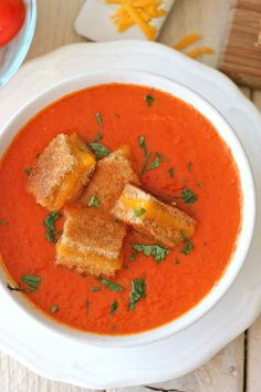"""By Damn Delicious. Creamy Tomato Soup with Grilled Cheese """"Croutons"""" - The perfect kind of comfort food together in one cozy bowl of soup! Crouton Recipes, Soup Recipes, Cooking Recipes, Skillet Recipes, Cooking Tools, Bowl Of Soup, Soup And Salad, Kale Soup, Breakfast"""
