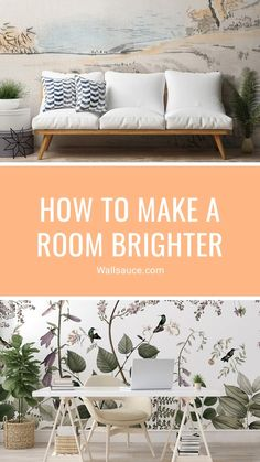 Have you ever wondered how to make a room brighter? Not only will these design tricks help you learn how to make a dark room brighter, but you'll benefit from the illusion of added square footage too. A light and airy space can appear a lot larger, making your home feel more comfortable and inviting. Discover more from the Wallsauce blog! #wallpaper #blog #decortips #interiordesign #homedecor #livingroominspo #homeofficeinspo #tips How to make a room brighter. Blog Wallpaper, Interior And Exterior, Interior Design, Nordic Living, Bright Rooms, Summer Wallpaper, What's Your Style, Creative Home, Outdoor Sofa