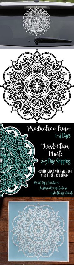 Mandala Decal Flower Decal Car Decal Lacey Laptop Sticker Mandala Car Decal Floral Hippie Seed of Life pretty fractal psychedelic decal Doily Home Decor Boho Chic Yoga decals om decorative ornamental