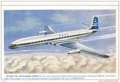 B.O.A.C. De Havilland Comet 4 Airplane , Artist C.A. GARMAN , 1950s - Delcampe.com