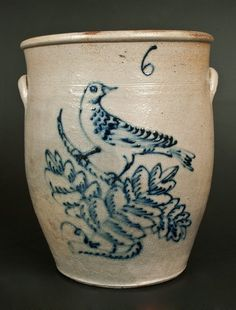 Six-Gallon Stoneware Jar with Large Cobalt Bird on Branch Decoration, New York State or Ohio origin, mid 19th century.